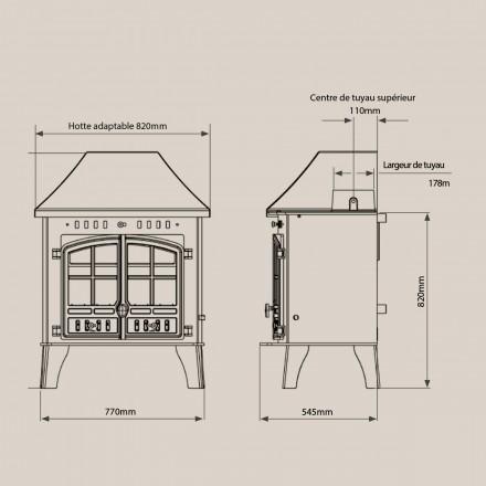 Poêle à bois bouilleur Hunter 80B - dimensions 2